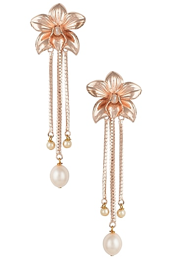 Rose gold plated orchid earrings by Valliyan by Nitya Arora