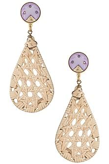 Beige drop cane earrings by Valliyan by Nitya Arora