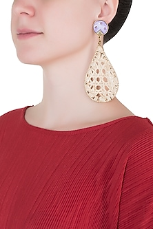 Beige drop cane earrings by Valliyan by Nitya Arora