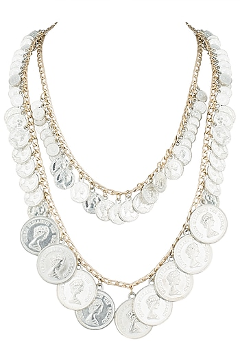 Gold plated dual layered silver coin necklace by Valliyan by Nitya Arora