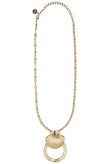 Gold plated shell hoop necklace by Valliyan by Nitya Arora