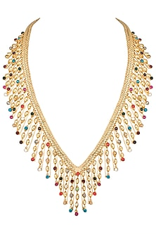 Gold plated twisted candy necklace by Valliyan by Nitya Arora