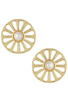 Gold plated wheel earrings by Valliyan by Nitya Arora