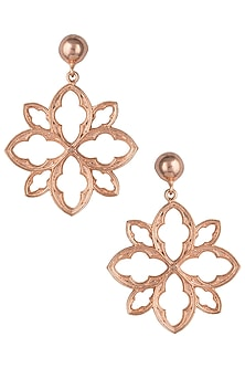 Rose gold plated floral earrings by Valliyan by Nitya Arora