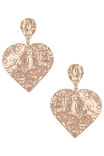 Rose gold plated textured long earrings by Valliyan by Nitya Arora