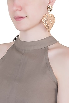 Rose gold plated textured long earrings by Valliyan by Nitya Arora