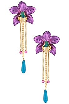 Gold plated mauve orchid earrings by Valliyan by Nitya Arora