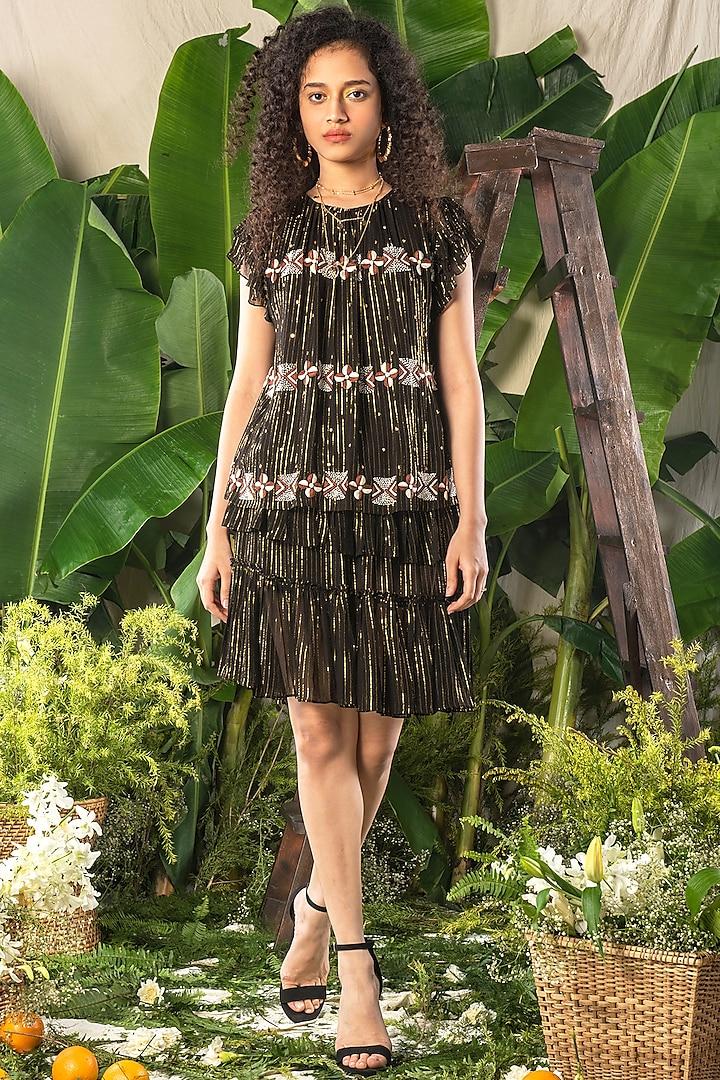 Black Striped Ruffled Skirt by Verb by Pallavi Singhee