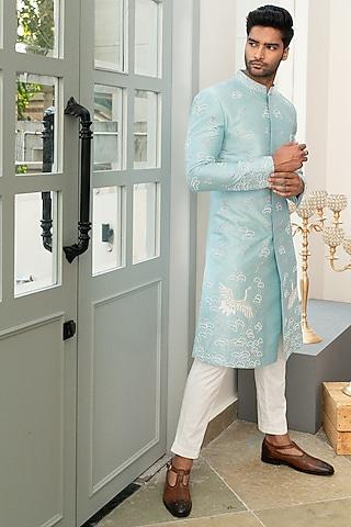 Blue Embellished Sherwani Set by Varun Chakkilam Men