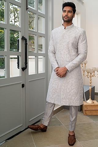 Grey Hand Embellished Sherwani Set by Varun Chakkilam Men