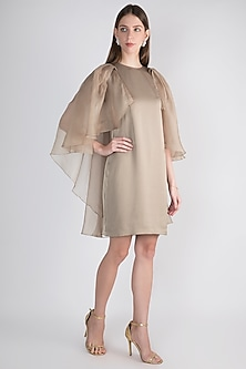 Champagne Midi Cape Dress by Vito Dell'Erba