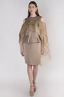 Champagne Knee Lenght Tapered Skirt by Vito Dell'Erba