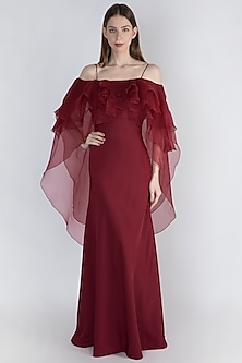 Wine Multi Layered Tapered Gown by Vito Dell'Erba