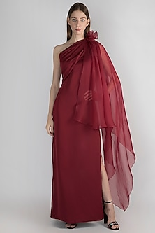 Wine Off Shoulder Gown by Vito Dell'Erba