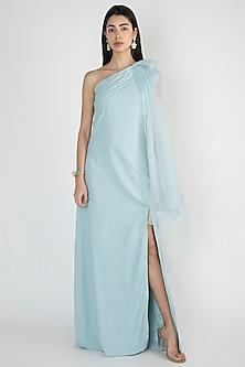Light Blue Off Shoulder Cape Gown by Vito Dell'Erba
