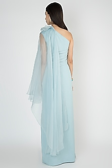 Light Blue Off Shoulder Cape Gown by Vito Dell'Erba