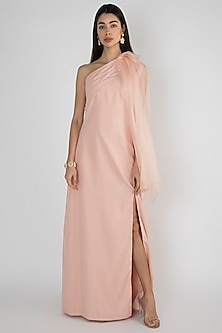 Powder Pink Off Shoulder Cape Gown by Vito Dell'Erba