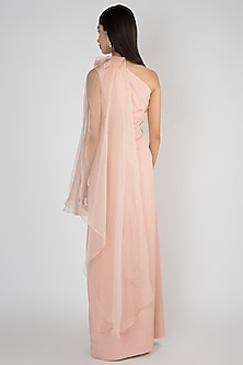 Powder Pink Off Shoulder Cape Gown by Vito Dell'Erba