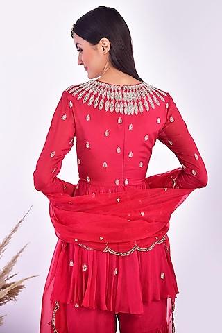 Rosy Red Hand Embroidered Gharara Set by Vidushi Gupta