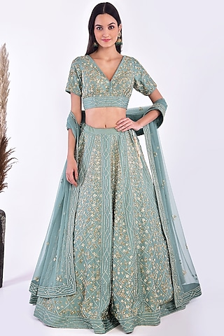 Coral Blue Hand Embroidered Lehenga Set by Vidushi Gupta