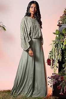 Sage Green Embroidered Jumpsuit by Vidushi Gupta