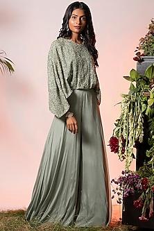 Sage Green Embroidered Jumpsuit by Vidushi Gupta