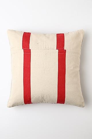 White & Red Mithun Pride Cushion Cover by Vekuvolu Dozo