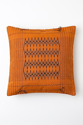 Orange Taveni Cushion Cover by Vekuvolu Dozo