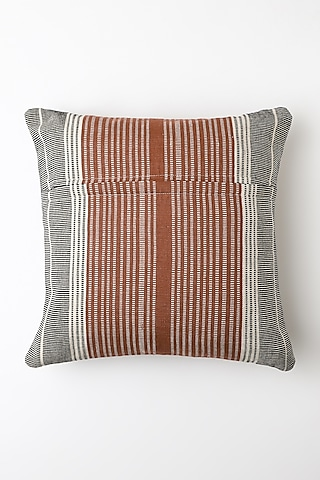 White & Brown Kheli Cushion Cover by Vekuvolu Dozo