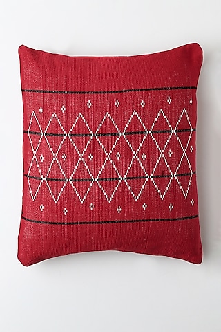 Red Therali Cushion Cover by Vekuvolu Dozo