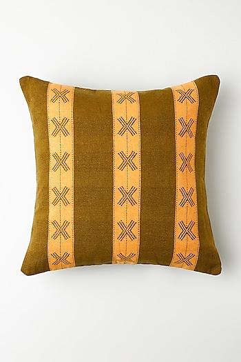 Henna Green Ashekha Cushion Cover by Vekuvolu Dozo