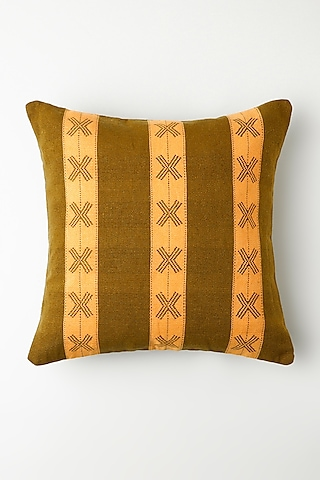 Henna Green Ashekha Cushion Cover by Vekuvolu Dozo