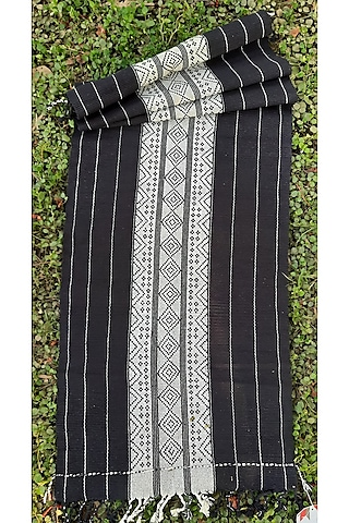 Black & White Cotton Handwoven Vonso Table Runner by Vekuvolu Dozo