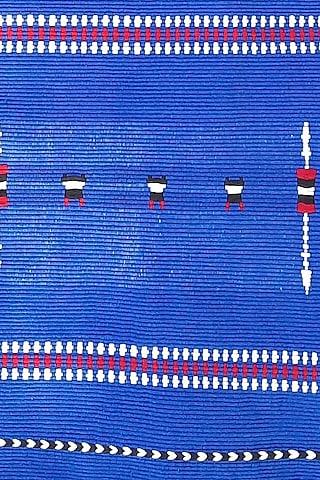 Blue & White Cotton Handwoven Table Runner by Vekuvolu Dozo