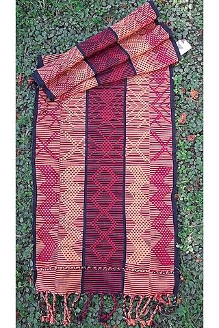 Red & Black Cotton Handwoven Table Runner by Vekuvolu Dozo
