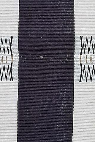 White & Black Cotton Handwoven Vishu Table Runner by Vekuvolu Dozo