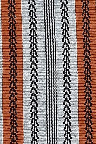 White & Black Cotton Handwoven Nhanii Table Runner by Vekuvolu Dozo