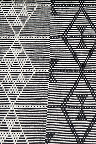Black Cotton Handwoven Table Runner by Vekuvolu Dozo