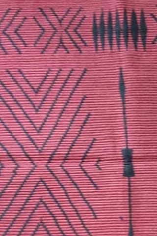 Red Cotton Handwoven Table Mat by Vekuvolu Dozo