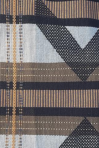 White & Black Cotton Handwoven Table Mat by Vekuvolu Dozo