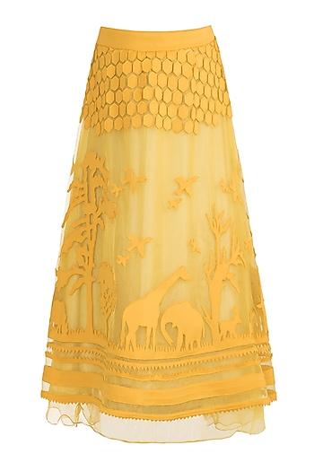 Mustard Tone-On-Tone Applique Skirt by Vidhi Wadhwani