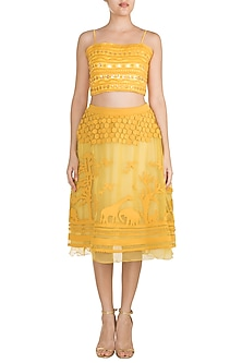 Mustard Tone-On-Tone Applique Skirt by Vidhi Wadhwani