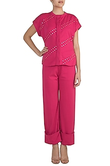 Fuchsia Embellished Top With Straight Pants by Vidhi Wadhwani