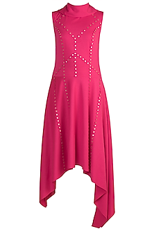 Fuchsia Asymmetric Collared Dress by Vidhi Wadhwani