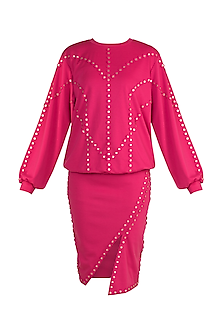 Fuchsia Embellished Sweatshirt With Pencil Shirt by Vidhi Wadhwani