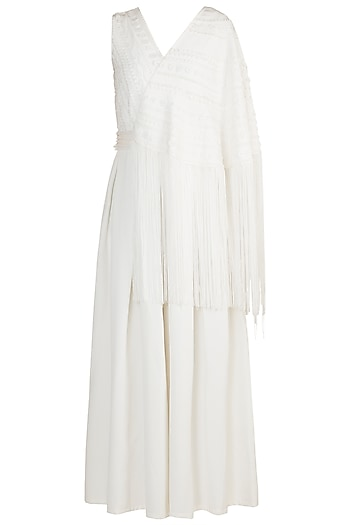 Off White Cape Sleeves Jumpsuit by Vidhi Wadhwani