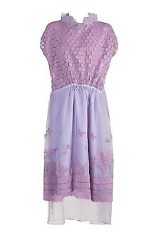 Mauve Applique Layered Dress by Vidhi Wadhwani