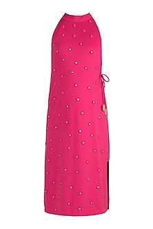 Fuchsia Polka Dot Applique Dress by Vidhi Wadhwani