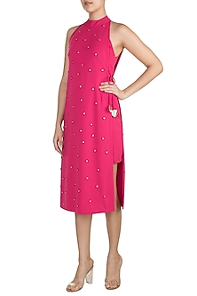 Fuchsia Polka Dot Applique Dress by Vidhi Wadhwani
