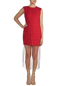 Red Textured Fringe Dress by Vidhi Wadhwani